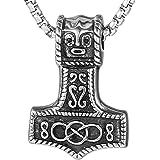 DonDon Collana Uomo Martello di Thor in Acciaio Inox con Diverse collane in Sacchetto di Velluto