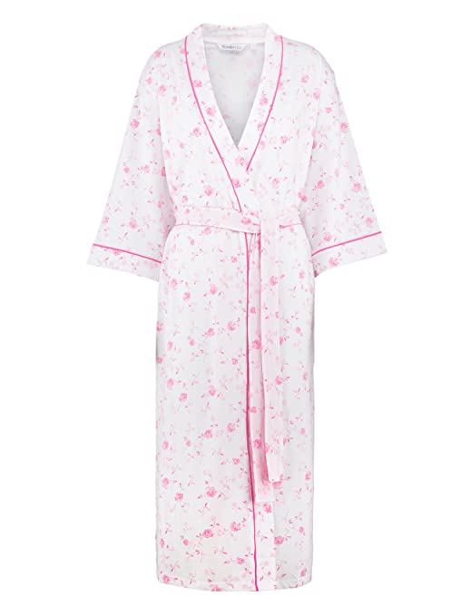 Pink or Lilac Floral Kimono Style Wrapover Dressing Gown Blue Sizes 10-22.