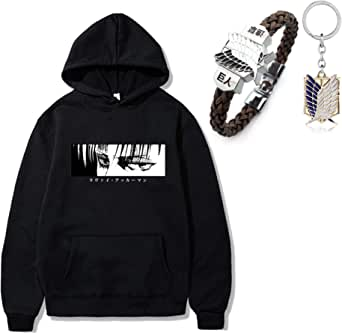 Draftor Anime Attack On Titan Cosplay Hoodie Unisex Sweatshirt Casual Pullover Sweater with Pocket for Teens Men Women, 1pcs Attack On Titan Bracelet, AOT Keychain