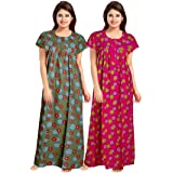 Pure Rich Cotton Nightie with Smooth Fabric Surface and Fancy Piping Work Set of 4(Pack of 4)