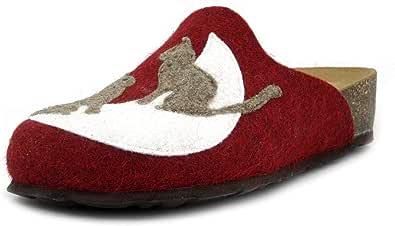BioNatura, Pantofole Donna Ciabatte Invernali in Feltro Lana Rosso Multicolore, Sottopiede Vera Pelle, 12LUNE