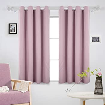 Deconovo Solid Room Darkening Curtains Thermal Insulated Blackout Eyelet For Girls Bedroom 140x180cm Baby Pink 2 Panels