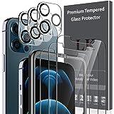 LK 6 Pack Protector de Pantalla Compatible con iPhone 12 Pro MAX 6.7 Pulgada,Contiene 3 Pack Cristal Vidrio Templado y 3 Pack