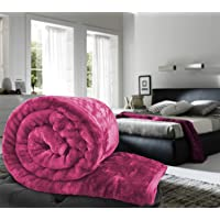 Craftscity Floral Embossed Mink Blanket Double Bed (Baby Pink)