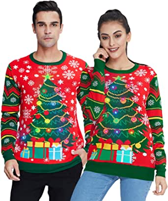 Idgreatim Unisex LED Illumina brutti Maglioni Natalizi Maglioni di Natale Maglione Lavorato a Maglia a Maniche Lunghe Stampato 3D Christmas Sweater