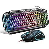 Gaming Tastatur mit Maus (DE Layout) 7 Tasten Gaming Maus mit 7 LEDs als Beleuchtung (600/800/1200/1600/2400 / 3200 DPI…