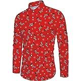 ALISISTER Mens Christmas Shirt 3D Funny Printed Long Sleeve Xmas Party Theme Dress Shirt M-XXL