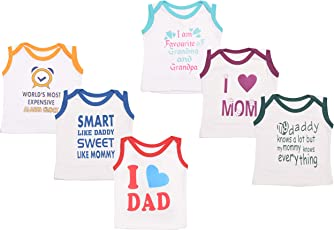 Baby Fly New Born Baby Cotton Sleeveless T-Shirts (0-6 Months) (Pack of 6)