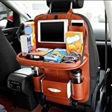 Cpixen Waterproof Leather Kick Mat Car Back Seat Organizer with Larger Protection and Storage