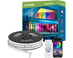 Novostella 16M Ruban à LED RGB Extérieur, IC Intégré, IP65 Étanche, Bande LED Couleur Arc-en-ciel APP Contrôle avec RF Téléco
