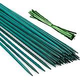 Pllieay 30 Varillas de bambú Verde de 12 Pulgadas con 60 Lazos metálicos Verdes, estaca de Planta Verde, púas Florales, Letre