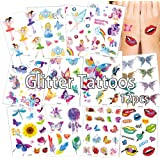 Anyingkai Set van 12 cartoon-tatoeages, tijdelijke tatoeages, kinderen, meisjes, tattoos, set, koffer, snowboard, iPhone (kle