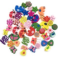 Satyam Kraft Diy Mix Design 50 Pcs Wooden Button Scrapbook Motives With 2 Holes Wooden Buttons