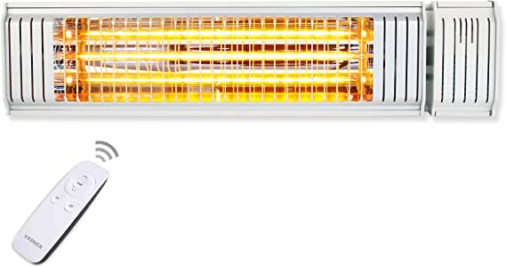 6 Heiz-Stufen Fernbedienung Terrassenstrahler W/ärmestrahler Terrassenheizer Terrasse Weiss VASNER Teras X20 Heizstrahler Infrarotstrahler 2000W