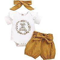 Ensemble Vêtements Bébé Fille 3 Pcs Court Manche O-Cou Barboteuse Tops + Floral Pantalon + Bowknot Bandeau