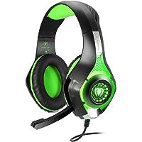 BlueFire 3.5mm Casque Gaming PS4,Casque Audio avec Micro Basse Stéréo avec LED Lumière et Contrôle Volume,Compatible pour Xbox One S/Xbox One/Laptop/Tablette/Smartphone (Vert)