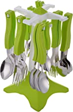 Slings Swastik Stainless Steel Cuttlery Spoon Fork Set, 26-Pieces, (Green)