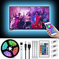 LED Strips Lights, L8star 2m/6.56ft USB TV Backlight Kit Light Strips for 40-60in TV Sync with Music App and Remote Control 5050 LED Bias Lighting for HDTV (2M)