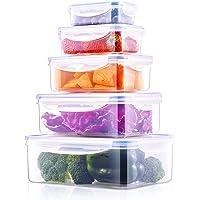 Deik Boîte Alimentaire, 5 Pièce (0.24L, 0.5L, 1L, 1.5L, 2.5L) Set de boîte de Conservation Alimentaire, étanche, au…
