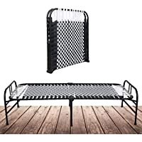 SOUTH WHALES - Trust Never Sinks Single Size Metal Folding Bed for Sleeping Foldable Cot Without Storage 6 x 3ft (Black)