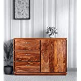 Choyal Wooden Sideboard Cabinet for Living Room | Kitchen Storage Side Board with 3 Drawers & Cabinet | Sheesham Wood, Honey
