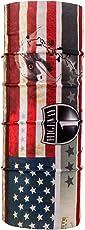 Autofy Unisex American Flag Print Lycra Headwrap Bandana for Bikes (Red and Blue, Freesize)