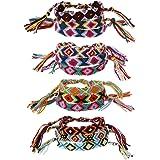 GROOMY Braccialetto, 3PCS Nappa Colorata Boho Weave Corde di Canapa Braccialetto Etnico del Braccialetto dell'amicizia