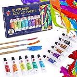 TBC The Best Crafts Peinture Acrylique, 12 Tubes de Couleurs (12 x 12 ML) Peinture Acryliques Premium Pigments Riches Non Tox