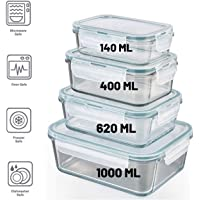 Femora Borosilicate Rectangular Glass Food Storage Container with Air Tight Air Vent Lid -Set of 4 Pcs - (140ML,400ML, 620 ML, 1000 ML) (White)