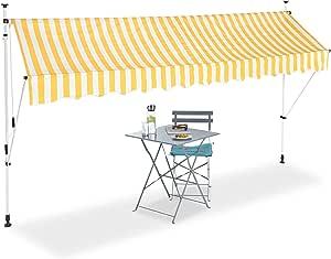 250 cm di Larghezza Protezione per Il Balcone 250 x 120 cm Beige Tenda da Sole a Manovella Senza Forare Relaxdays Regolabile