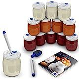 12 Pots de Yaourts en Verre avec Couvercles Étanches à dater–Stylo Effaçable et 12 Étiquettes Waterproof pour Yaourtière(ther