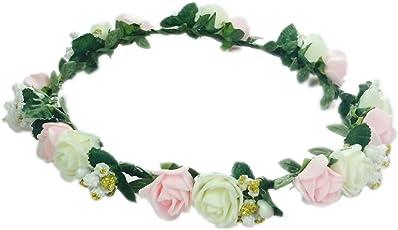 Loops n Knots Pink & White Elegant Tiara/Floral Crown