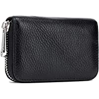 Meowoo Credit Card Holder RFID Blocking Genuine Leather Mini Credit Card Wallet Purse with Zipper for Women Men (Black)