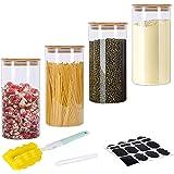 GoMaihe 1,2 l förvaringsburkar set med 4 st, förvaringsburkar glas kryddburkar lufttät glasbehållare i glasburk med lockset,