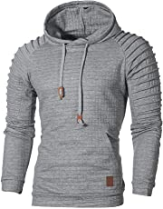 KingProst-Männer Hoodie MäNner Einfarbige Pullover Plaid Baumwolle Kapuzenpulli Herbst Winter Outwear Mantel Slim Fit Sweatshirt FüR Sport Fitness Training & Freizeit