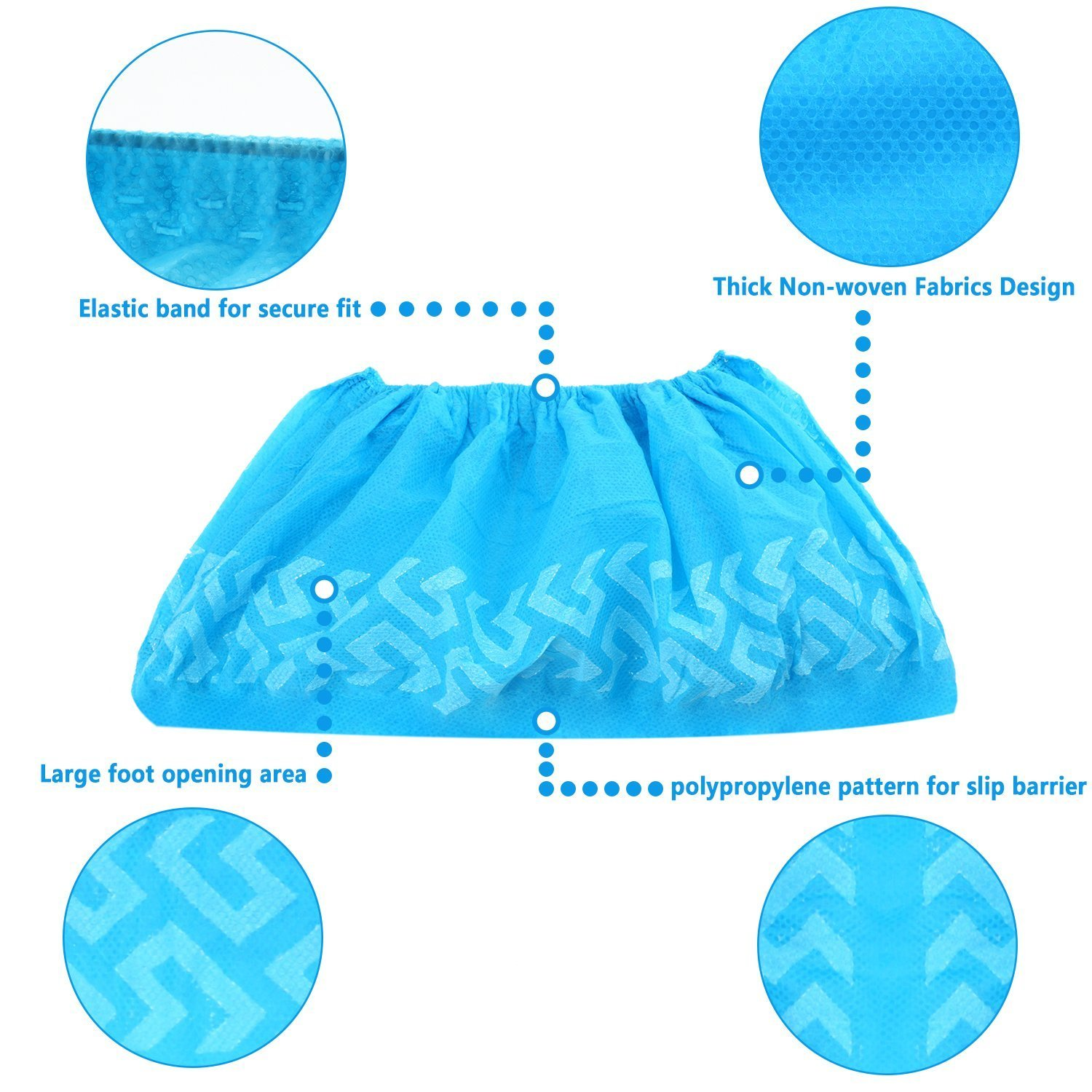 200 Pack Disposable CPE Shoe Covers Waterproof Slip Resistant Hygienic Overshoes
