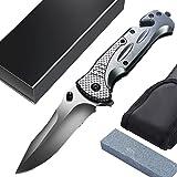 Klappmesser 3-in-1 Taschenmesser - Scharfes Klappmesser - Outdoor Survival Messer, Einschließen Schleifstein & Messertasche