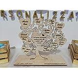 Albero della vita in legno di Betulla personalizzabile con nomi e frase/dedica centrale 25x25cm circa spessore 3mm con base d