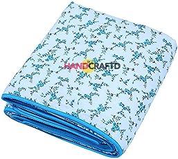 Handcraftd Summer Special 100% Premium Anti-Pilling Super Soft Cotton Floral Print Double Bed Dohar/ Summer Ac Blanket- Blue Iris Flowers