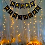 Party Propz Happy Birthday Decoration Kit -2Pcs Black Banner with Led Light Birthday Decorations Items for Bday Lights Combo