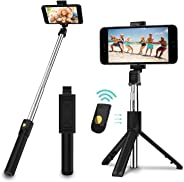 Selfie Stick, 3 in 1 Extendable Selfie Stick Tripod with Detachable Bluetooth Wireless Remote Phone Holder for iPhone Xs/iPh