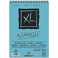 Canson Album 20 Feuilles XL Aquarelle - Spiralé Petit Côté - A5 300g/m² Grain Fin - Blanc