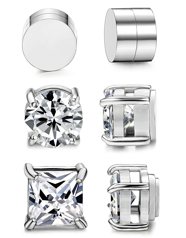 BESTEEL 3 Pairs Stainless Steel Magnetic Earrings for Men Women Studs Earrings Clip Cubic Zirconia Non Piercing 6-8MM