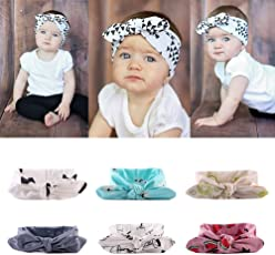 Rrimin Baby Girl's Cotton Knotted Adjustable Hairband (Multicolour) - Pack of 6