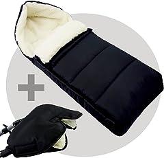 BAMBINIWELT KOMBI-ANGEBOT Muff + Winterfußsack 108cm - aus Lammwolle für Kinderwagen, Buggy, Radanhänger - WOLLE - LINIERT - SCHWARZ