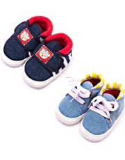 Infano Cotton Baby Shoes Combo - Multi (6-12 Months,2 Pairs)
