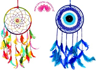 Reiki Crystal Products Combo Dream Catcher Multi Colour + Evil Eye Dream Catcher ,Pack Of 1+1