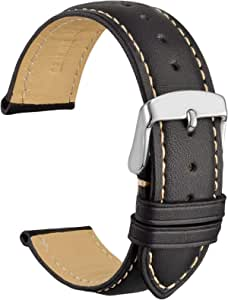 WOCCI Cinturini Orologi Vintage in Pelle con Fibbia in Argento Inossidabile, Cinturino di Ricambio 14mm 16mm 18mm 19mm 20mm 21mm 22mm 23mm 24mm