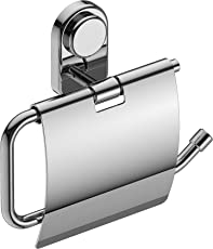 Amity Cute Toilet Paper Holder with Lid, Tissue Paper Stand with Flap, Wall Mounted for Toilet and Washroom, 304 Grade Stainless Steel with Chrome Finish