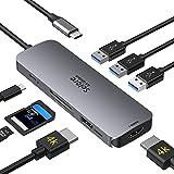 Hub USB C Dual HDMI, Hub USB C Adaptador, 8 en 1 Docking Station Dual 4K HDMI, 3 USB 3.0, 100 W PD,Lector de Tarjetas SD/TF p